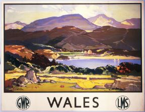 Welsh Railway Travel Art Poster Print, Wales by LMS and GWR
